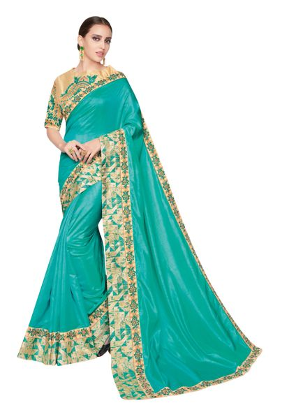 Designer Two Tone Turquoise Silk Border Saree with Semi Stitched Blouse