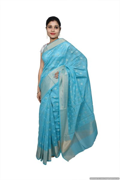 Firozi Blue Banarsi Cotton Silk Saree with Running Blouse Fabric BS30