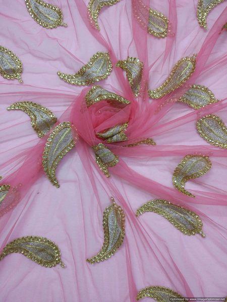 Designer Net Pink Zari stone Embroidered Fabric for Dupatta ,saree Pre Cut 2.5 Meters (255 Cms)