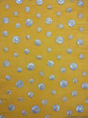 Designer Chinon Yellow Gotta faux Mirror embroidered for Blouse Crop Top Cut 2.6 Meter ( 264 cms )