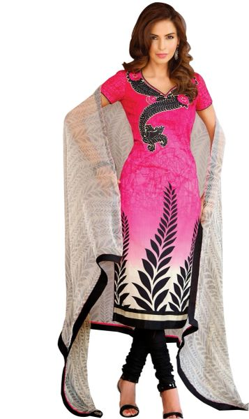 Lawn Cotton Embellished Dress Material with Chiffon Dupatta 9023