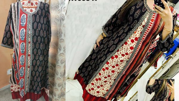 Designer Selfie Black Double Layer Block Print Cotton Long Kurta Kurti Dress NV993A