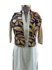 Blue Gotta Embroidered Ethnic Jacket Shrug