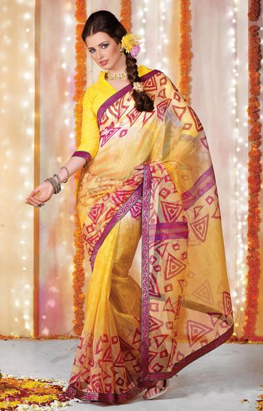 Supernet Cotton Lacer Printed yellow saree sari SC1110