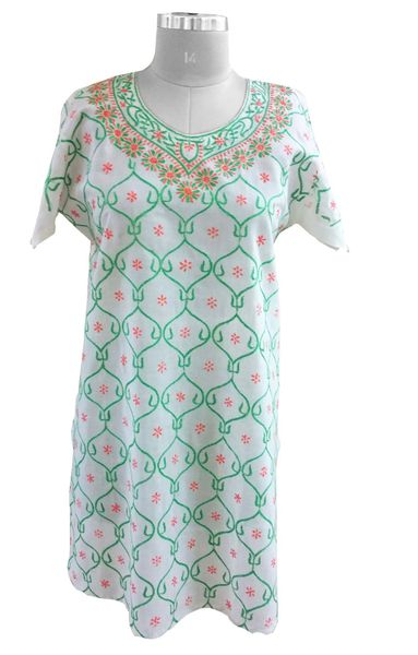 Off White Cotton Semi Stitch Chikankari Lucknowi Kurta