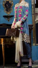 Designer Pakistani Replica Blue Georgette Dress Material Trouser Suit TM4001