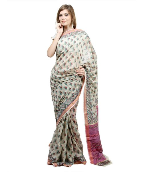 Block Printed Off White Maheshwari Mercerised Cotton saree