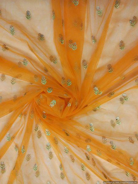 Designer Net Orange Zari Pasted Diamond Embroidered for for Lehenga , saree, Gown, Dupatta Cut 6 Meter ( 615 cms )