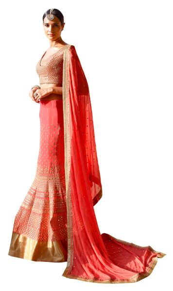 Carrot Pink Georgette Lehenga Choli Dupatta Fabric Only SC5044