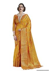 Yellow Two Tone Silk Saree