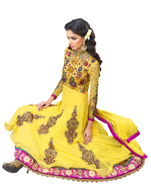 Anvi Creations Yellow Net and Cottton Silk Anarkali Dress Material
