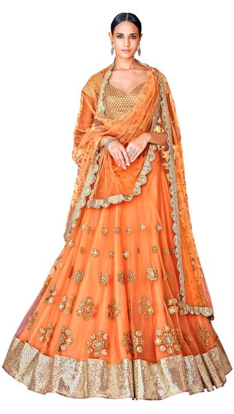 Orange Net Lehenga Choli Dupatta Fabric Only SC5049