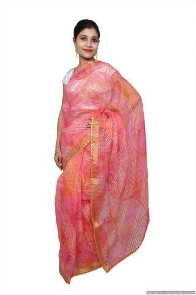 Designer Pink Zari Weaven Kota Shibori Saree