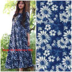 Exclusive Indigo Blue Block Printed Fabric Precut 2.5 meter Material Only BP40S