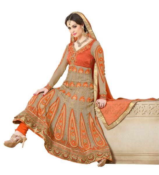 Cream Faux Georgette Semi Stitched Anarkali Dress Material SC2008