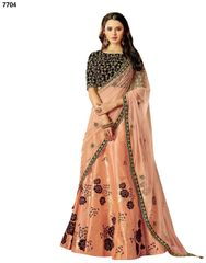Designer Peach Silk Lehenga Skirt With Semi Stitched Blouse and Dupatta