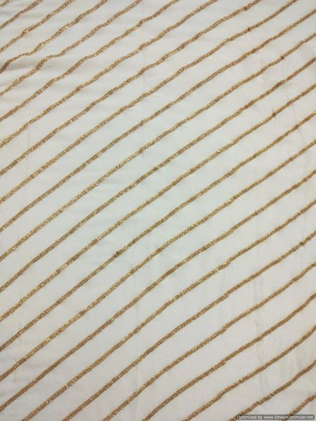 Designer Chinon Off White Zari stripe Embroidered for Blouse Crop Top Cut 1.5 Meter ( 155 cms )