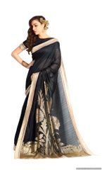 Designer Black Handloom Silk Light Embellished Saree SCMIS10