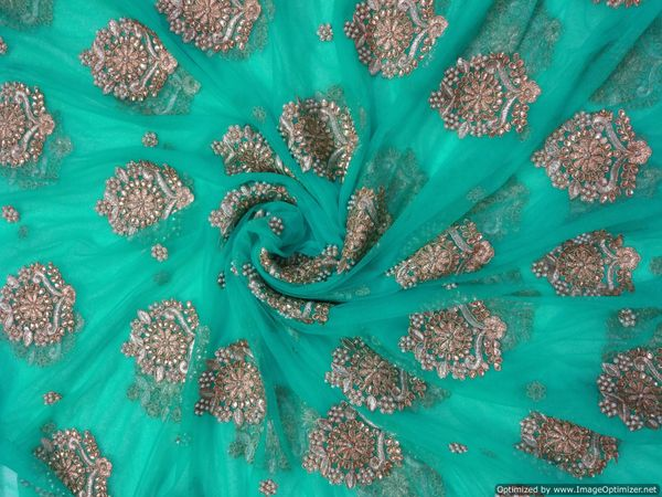 Designer Net Turquoise Heavy Zari Stone Moti pasted Embroidered for Lehenga , saree, Gown Cut 5 Meter ( 511 cms )