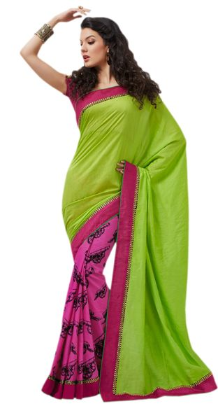Designer Bhagalpuri Cotton Silk Printed and Lacer Border Saree SC1609