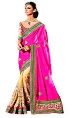 Designer Beige Jequard Net Pink Embroidered Saree SC107B