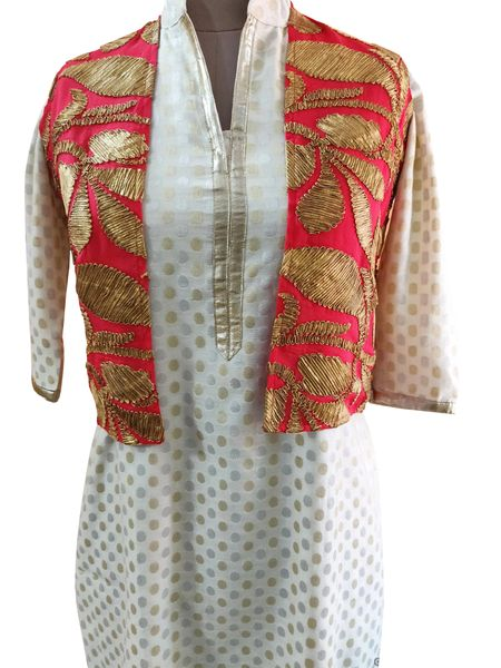 Carrot Pink Gotta Embroidered Ethnic Jacket Shrug