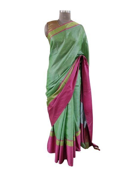 Gold Border Tissue Linen Cotton Saree (Green_BLS09)