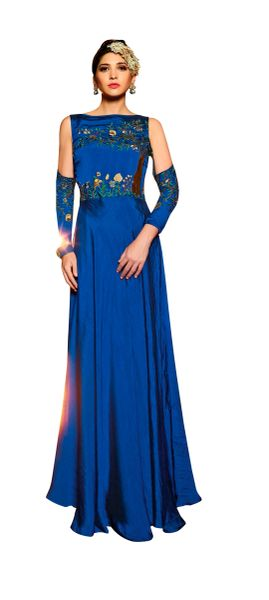 Designer Ready to Wear Blue Slub Satin Silk Embroidered Long Gown Dress Size 42 A418