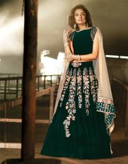 Heavy Wedding Velvet Green Lehenga Choli SC15001