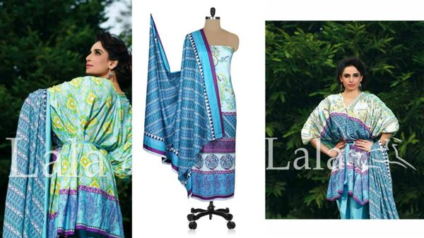 Designer Original Pakistani Sana Samia Blue Lawn Cotton Dress material SSL9B