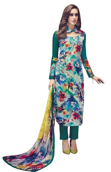 Designer Turquoise Embroidered Pashmina Winter Dress Material with Chiffon Dupatta