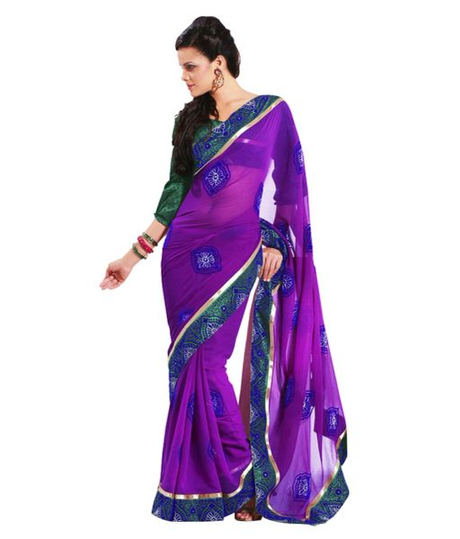 Purple Embroidered Chiffon Saree SC32033