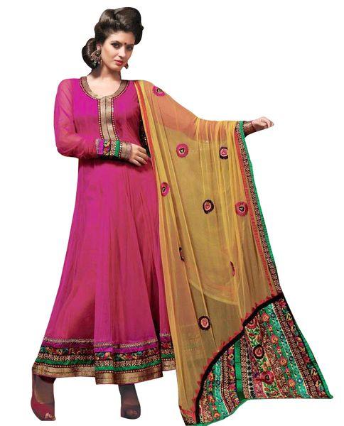 Pink Yellow Net Embroidered Salwar kameez Churidar Dress Material SC6115