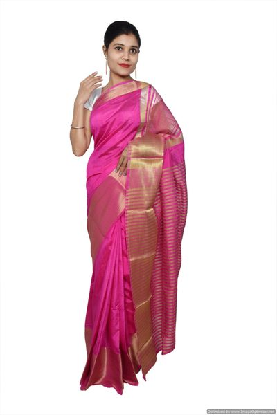 Purple Banglore Silk Saree with Running Blouse Fabric BGS03