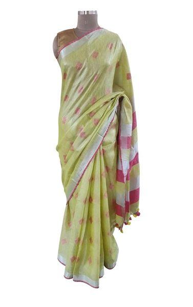 Silver Border Tissue Linen Cotton Weaven Saree (Green_BLS06)