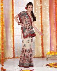 Supernet Cotton Lacer Printed offwhite milk saree sari SC1107