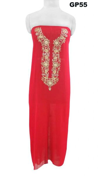 Jaipuri Gotta Patti Work Red Georgette Kurti Kurta Fabric GP55
