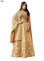 Designer Beige Silk Lehenga Skirt With Semi Stitched Blouse and Dupatta