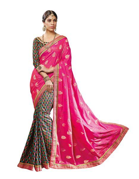 Pink Black Art Silk Brasso Saree SC19923