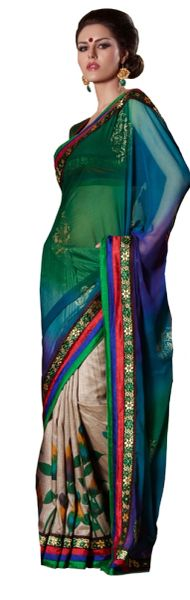 Teal beige Embellished Chiffon Raw silk saree SC8416B