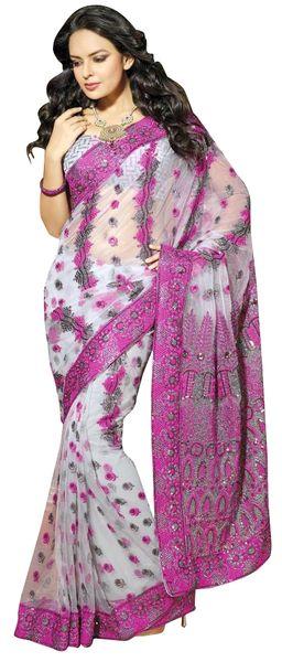 Designer Grey and Pink Schiffli Embroidered Net saree SC9021B