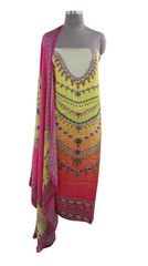 Designer Digital Printed Satin Kurta with Chiffon Dupatta Fabric Only Heer5705