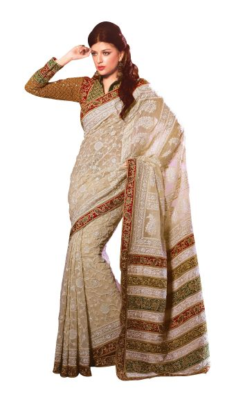 Off White Embroidered Georgette Saree SC2113