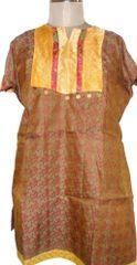 Brown Banarsi Jequard Semi Stitched Kurta (Plus Size_5XL)