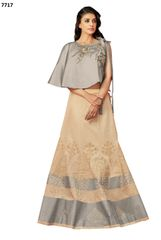 Designer Off White Silk Lehenga Skirt With Semi Stitched Blouse