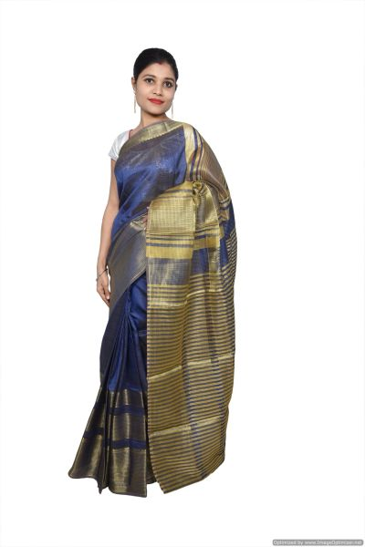 Navy Blue Banglore Silk Saree with Running Blouse Fabric BGS11