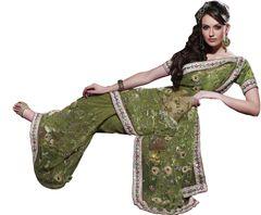 Designer Olive Green Net Embroidered saree SC132
