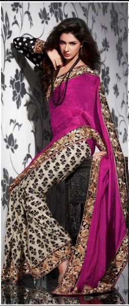Pink Brownish Beige Crepe Embroidered Saree SCA3603