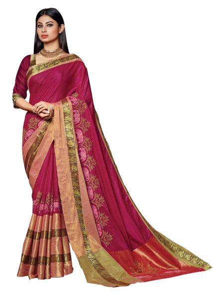 Soft Cotton Silk Embroidered Saree (Pink_Savannah)