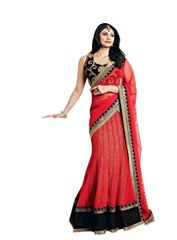 Red Net Three Piece Lehenga Choli Dupatta Fabric Only SC2368